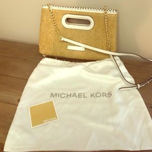 Michael Kors White and Straw Clutch